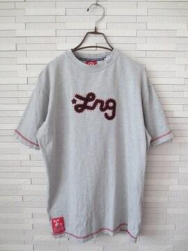 即決/LRG/ロゴ刺繍半袖丸首Tシャツ/グレー/M