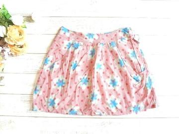 新品 rapty ピンク 花柄 レトロ ポップ ミニ スカート