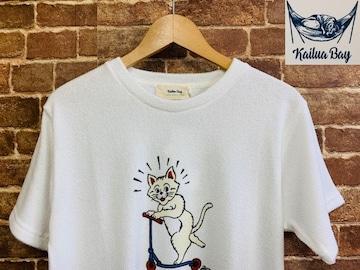 表記L/新品!パイル 猫 キャラクター Tシャツ スケボー サーフ  西海岸スタイル スケーター