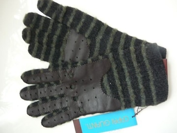 カプリガンティニット手袋部分皮シルクカシミヤ