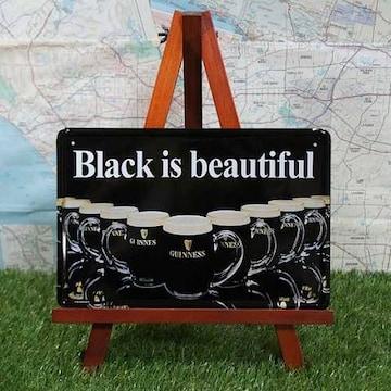 新品【ブリキ看板】Guinness/ギネス Black is beautiful