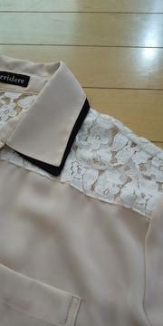 美品☆激可愛レース付シフォンシャツ♪M 五分袖(*^^*)