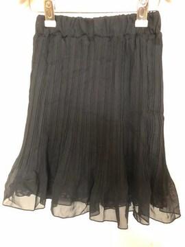 アンティローザ☆プリーツの黒と花柄のリバーシブルスカート