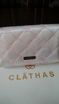 新品 CLATHAS  クレイサス 刺繍 カメリア ミラー付き ポーチ