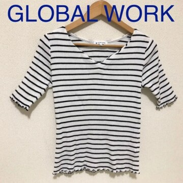 #GLOBAL WORK ボーダーリブTシャツ M