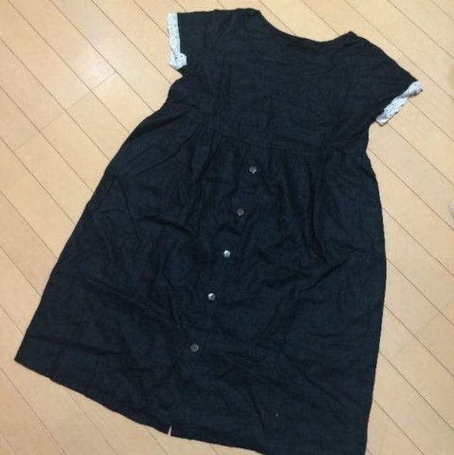 新品◆ハンドメイド◆麻リネンワンピース◆ブラック鍵編レース  < 女性ファッションの