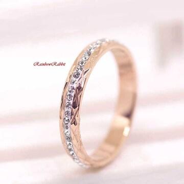 指輪 18K RGP ゴールド ダイヤ CZ エタニティ リング gu1387e