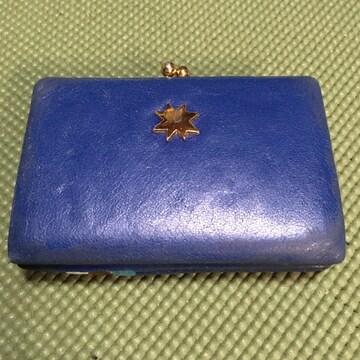 ツモリチサト レザー二つ折りウォレット がま口 スタッズ ブルー