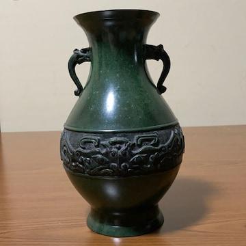 アンティーク 青銅器 日本製 双龍吐水耳 双龍玩珠子 花生け
