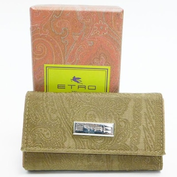 美品ETROエトロ 6連キーケース ペイズリー柄 緑系 良品 正規品