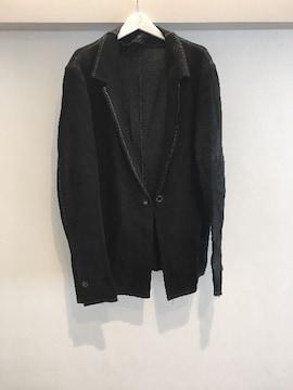 ISAACSELLAM オーバーロックステッチレザーテーラードジャケット