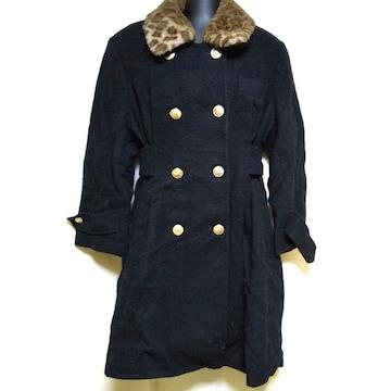 TERICO BY SUN CLOVER★ヒョウ柄襟付きコート(黒) ★中古品