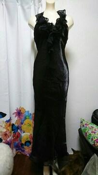 1st 胸元コサージュ フリル ホルターロングドレス・ナイトドレス