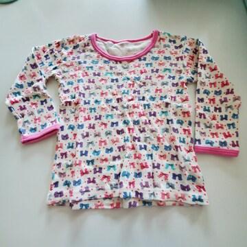 白にふちピンクリボン柄、長袖Tシャツ95