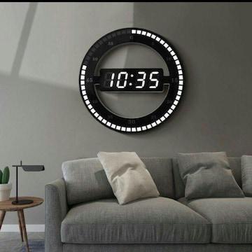 デジタル時計 LED ラウンド 置時計 掛け時計