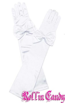 59G)リボン付サテンロンググローブ白ホワイトウェディング手袋ステージ衣装パーティーダンス