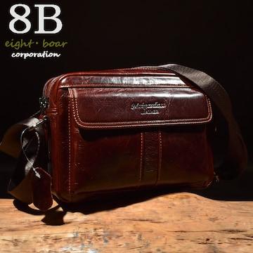 ◆牛本革 プルアップレザー 中型ショルダーバッグ 大人◆赤茶c6