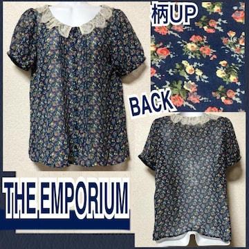 【新品/THE EMPORIUM】レース襟小花柄シアーブラウス