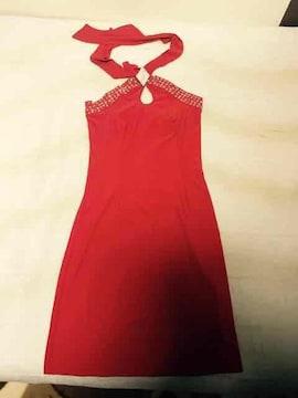 胸元 ビジュー ホルター ネック ドレス  赤