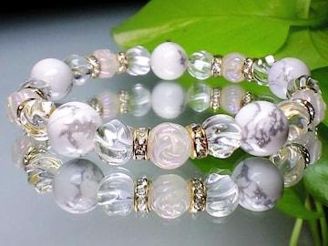 薔薇彫ローズクオーツ・トルネード水晶・ハウ石天然石