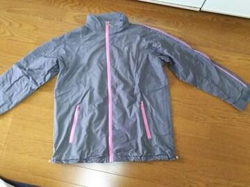 Lサイズ/PIKOフード収納ナイロンジャンパー/グレー×ピンク