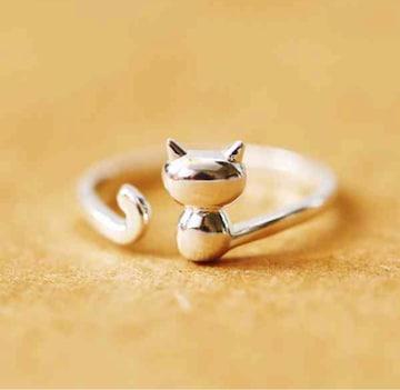 ★猫 リング シルバー 指輪 レディース ねこ アクセサリー S925