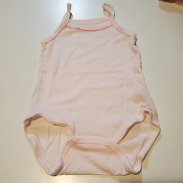 薄いピンクメッシュ袖無しロンパース70