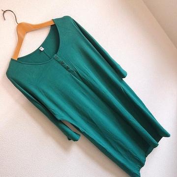 ◆UNIQLO/ユニクロ◆velvetワンピース(七分袖)★グリーンM*部屋着♪