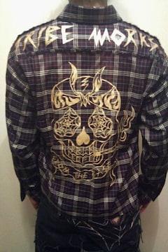 即決TRIBEWORKSスカルタトゥーチェックシャツ!ロックホットロッドラッキー13galcia