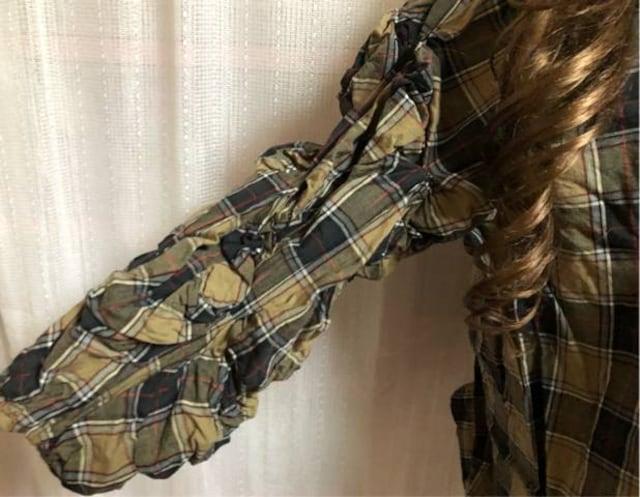 中古美品★チェック総柄★腕シャーリング加工★薄手チュニック < 女性ファッションの