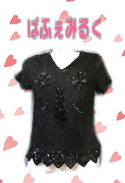 L93☆黒ビーズとスパンコール☆レース系ゴージャスTシャツ