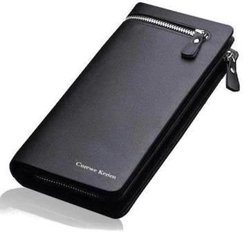 売切れ注意990円★メンズPUレザー大容量 高級感溢れる長財布