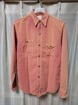 ジョーマッコイ 長袖 シャンブレー ワークシャツ 14 Sサイズ レッド 赤シャン リアルマッコイズ
