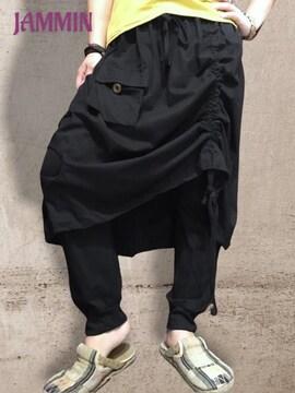 アシンメトリースカート付きサルエルパンツ★男女兼用★アジアン