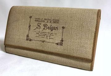 正規 BVLGARIブルガリ コレツィオーネ ロゴ長財布 小銭入れ有 茶×ベージュ系