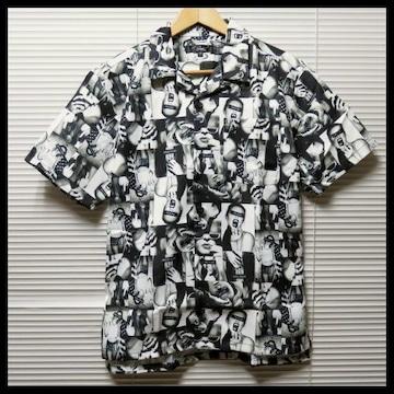 ガールズフォト総柄オープンカラーシャツ/BLK/L 開襟 半袖