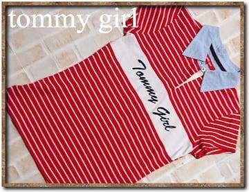 トミーガール 刺繍入りボーダー半袖ポロシャツ 赤