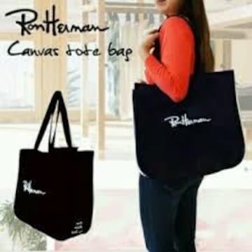 【Ron Herman/ロンハーマン】《New》ロゴ刺繍★キャンパス*トートバッグ<ブラック>