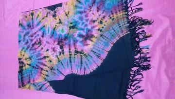 大判ストール/黒×タイダイ/アジアンエスニック