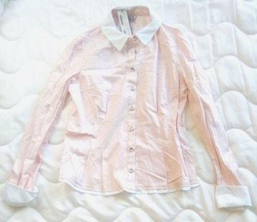 新品 韓国 2me 白 ピンク ブラウス 88-160 M