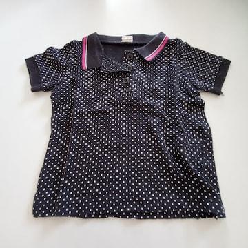 黒に白水玉、半袖ポロシャツ80