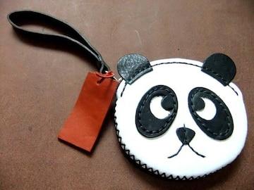 牛革 パンダ レザー ポーチ  しっかりとした縫製 YKK製