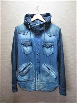☆アメリカンラグシー FADELESS ヴィンテージ加工 フード付き デニムシャツ/メンズ/36