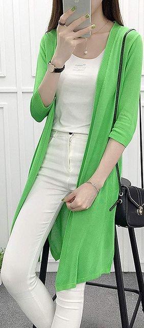 薄手シンプル!!ロングカーディガン(2XL寸・緑) < 女性ファッションの