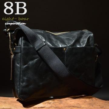 ◆Rock Lether 牛本革 B5サイズ 中型ショルダーバッグ◆黒k22