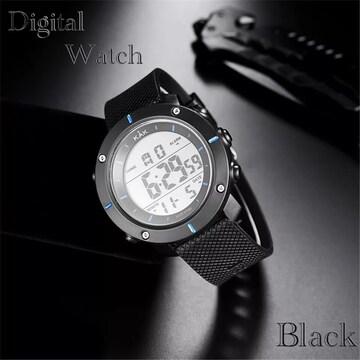 スポーツ腕時計 LED デジタル腕時計 ミリタリー 腕時計 青