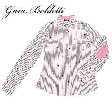 新品 Gaia Boldettiイタリア製ストライプシャツブラウス 白#