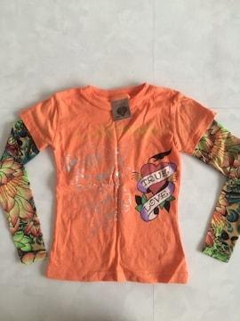 Ed キッズ size2 袖タトゥー風 Tシャツ オレンジ