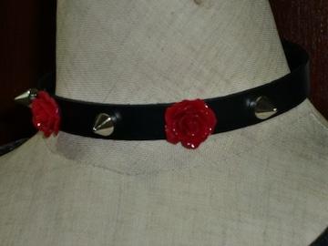 送料無料☆本革!薔薇Xスパイクスタッズレザーチョーカー☆ローズ