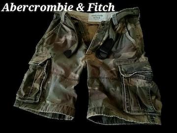 【Abercrombie&Fitch】Vintage Destroy ベルト付カーゴショーツ 34/Camo